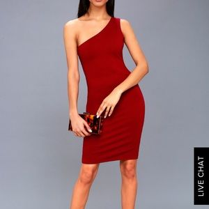 Lulus Red One-Shouldered BodyCon Mini Dress